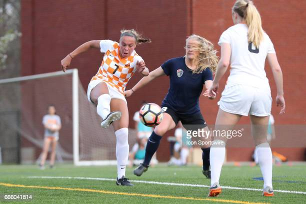 Tennessee's Mary Alice Vignola clears the ball away from Courage's Makenzy Doniak The NWSL's North Carolina Courage played their first preseason game...