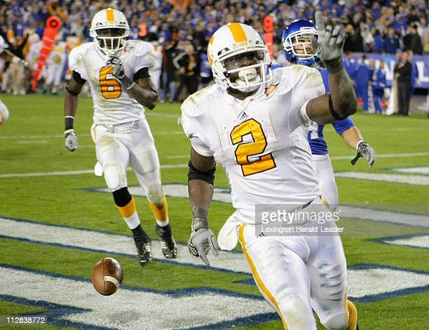 Tennessee's Montario Hardesty scored the gamewinning touchdown in overtime against Kentucky on Saturday November 28 in Lexington Kentucky Tennessee...