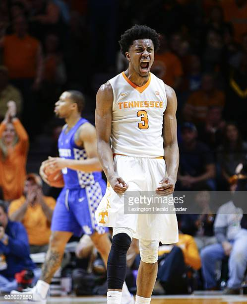 Tennessee's Robert Hubbs III celebrates after a firsthalf dunk against Kentucky at ThompsonBoling Arena in Knoxville Tenn on Tuesday Jan 24 2017