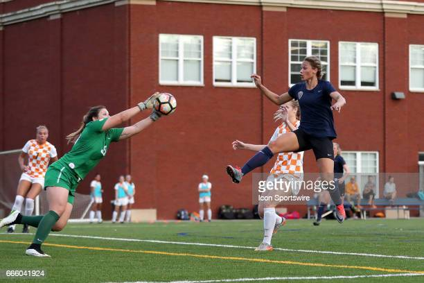 Tennessee's Shae Yanez grabs the ball under pressure from Courage's Lynn Williams After the players collided the referee awarded a penalty kick to...