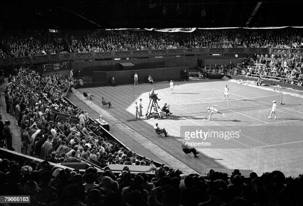 Tennis 10th June 1938 Wightman cup doubles action at Wimbledon centre court between GBs Freda James and Miss ME Lumb v Alice Marble and Sarah Palfrey