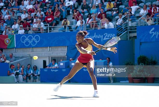2000 Summer Olympics USA Venus Williams in action vs Russia Elena Dementieva during Women's Singles Final at the New South Wales Tennis Centre Day 13...