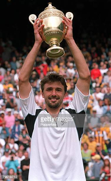 Tennis 2001 All England Lawn Tennis Championships Wimbledon 9th July 2001 Mens Singles Final Croatia's Goran Ivanisevic celebrates with the trophy...