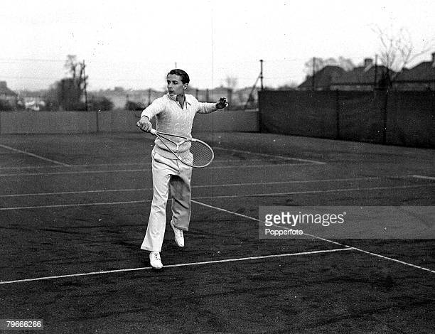 Tennis, 22nd March 1937, H,W, Austin, who has succeeded Fred Perry as England+s No, 1 player, completed in the Herge club+s lawn tennis tournament at...