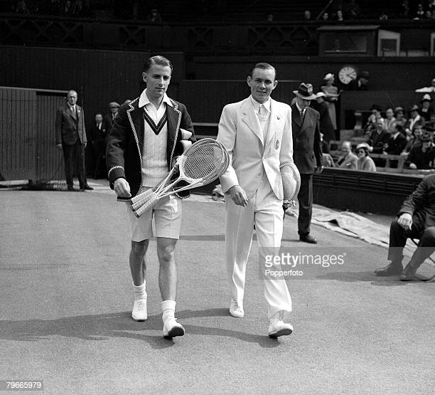 Tennis 26th June 1939 Mens Singles Tournament Bunny Austin and J Asboth walking onto the Centre Court on the opening day of the Wimbledon Tennis...