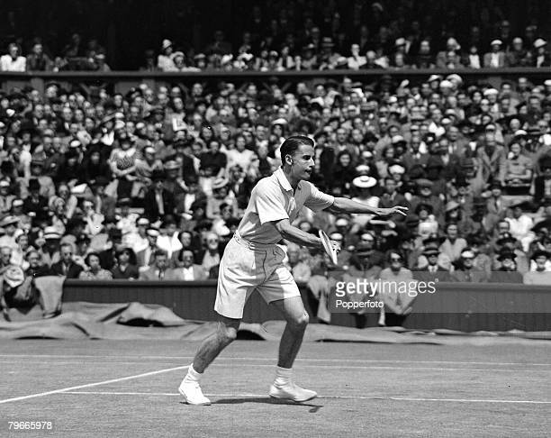 Tennis 3rd July 1939 Wimbledon Tennis Championships Mens Singles Tournament HW Austin in play against ET Cooke of the USA Cooke beat Austin 63 60 61...