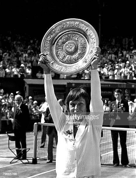 Tennis 6th July 1979 Martina Navratilova holds aloft the Wimbledon Ladies Singles Trophy after beating fellow American Chris Evert Lloyd 64 64 on...