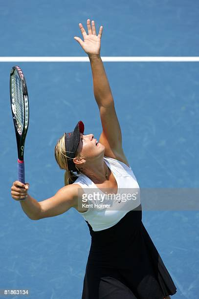 Tennis Acura Classic Aerial view of Russia Maria Sharapova in action serve vs Russia Anna Chakvetadze during Semifinals at La Costa Resort Spa...