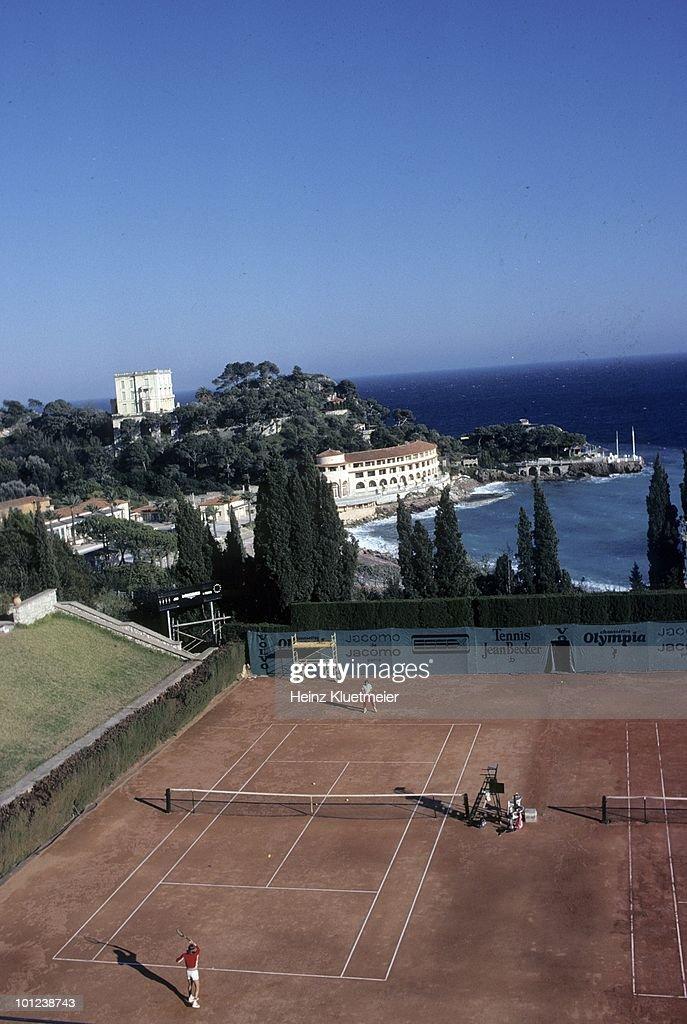 Aerial view of Sweden Bjorn Borg in action during practice. Monte Carlo, Monaco 3/1/1980--3/31/1980