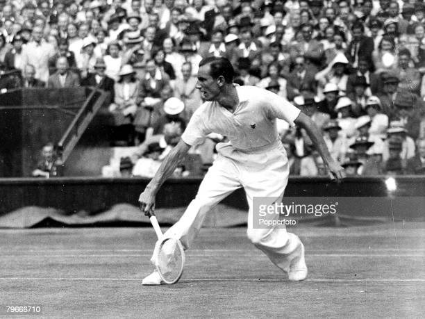 Tennis AllEngland Lawn Tennis Championships Wimbledon Mens Singles SemiFinals 3rd July 1935 Britain's Fred Perry in Wimbledon Centre Court action v...