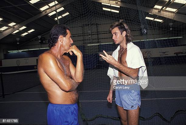 Tennis: Andre Agassi with Nick Bollettieri at Nick Bollettieri Tennis Academy, Bradenton, FL 1/1/1989--
