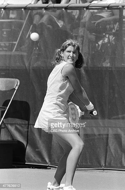 OPEN tennis at the hard courts of the USTA National Tennis Center in Flushing Meadows NY September 1978 On court Tracy Austin
