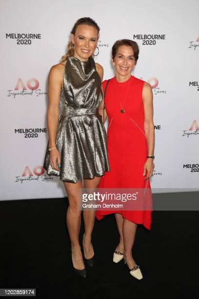 Tennis Australia chair Jayne Hrdlicka and Caroline Wozniacki of Denmark attend the AO Inspirational Series Lunch during the Australian Open 2020 at...
