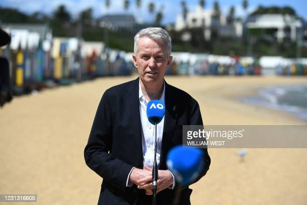 Tennis Australia Chief Executive Craig Tiley speaks to media after the Serbia's Novak Djokovic photo shoot at the Brighton Beach in Melbourne on...
