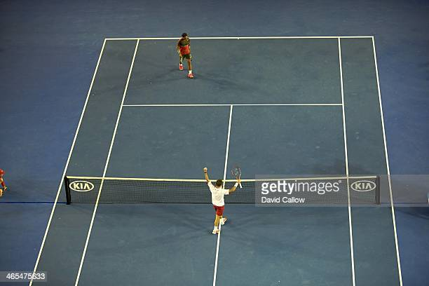 Australian Open: Aerial view of Switzerland Stanislas Wawrinka victorious during Men's Final vs Spain Rafael Nadal at Melbourne Park. Melbourne,...