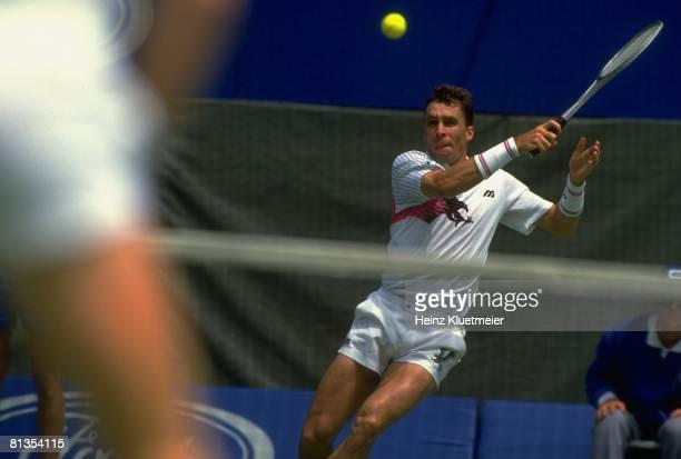 Tennis Australian Open Czechoslovakia Ivan Lendl in action during match at Flinders Park Melbourne Australia 1/24/19911/26/1991