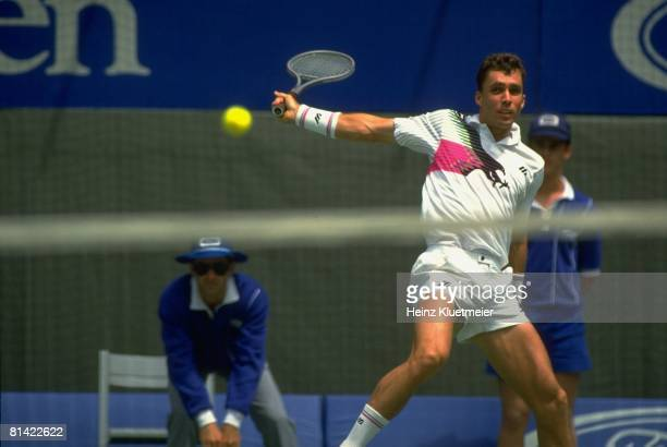 Tennis: Australian Open, Czechoslovakia Ivan Lendl in action during match at Flinders Park, Melbourne, Australia 1/24/1991--1/26/1991