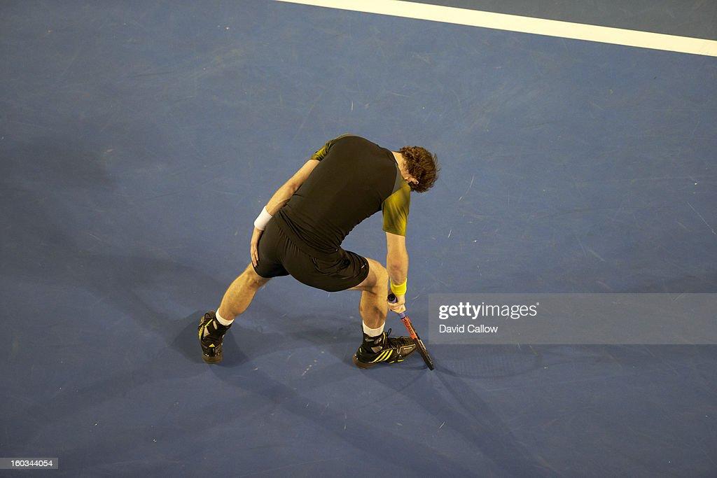 Great Britain Andy Murray upset after losing Men's Final vs Serbia Novak Djokovic at Melbourne Park. David Callow F65 )