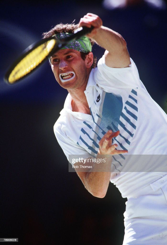 Tennis, Australian Open Tennis Championships, Melbourne, Australia, January 1990, Men's Singles, USA's John McEnroe serving
