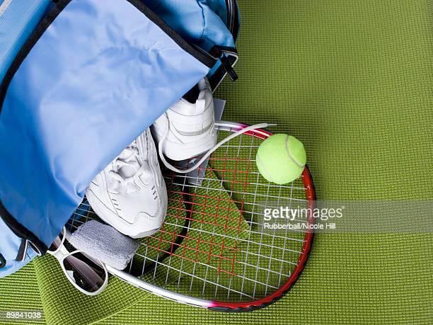 tennis bag full of gear