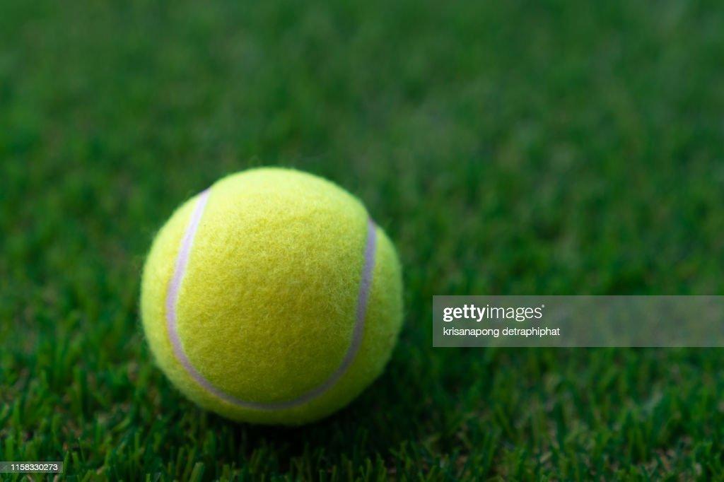 Tennis ball on a green background,Tennis : Stock Photo