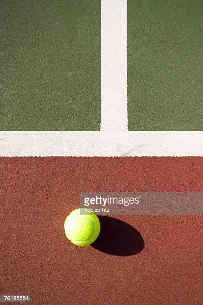A tennis ball on a tennis court