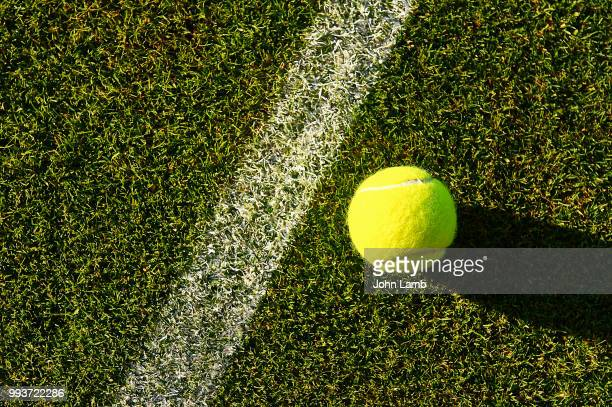 tennis ball on grass court - grass court stock pictures, royalty-free photos & images