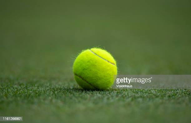Tennis ball on the Centre Court during Day Nine of The Championships - Wimbledon 2019 at All England Lawn Tennis and Croquet Club on July 10, 2019 in...