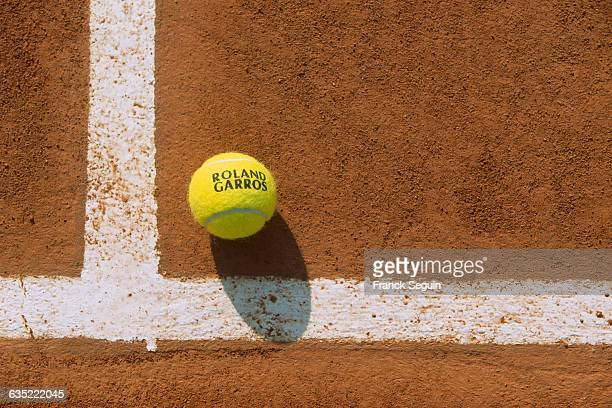 Tennis ball on the clay at Roland Garros French Open