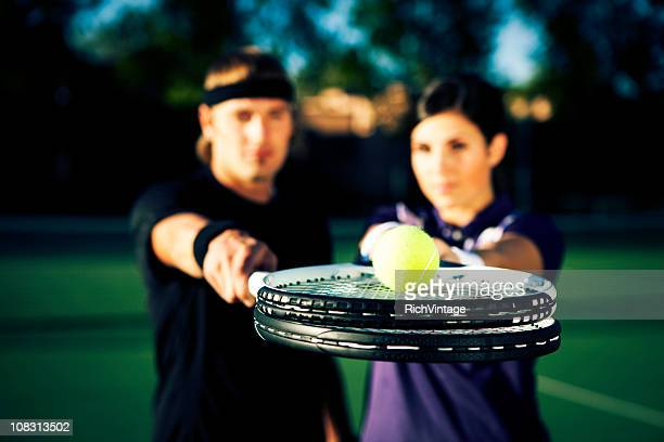 tennis ball service - doubles stock photos and pictures