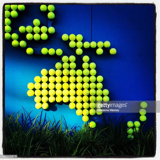 Tennis balls in the shape of Australia are on display at the ANZ Marquee on day seven of the 2013 Australian Open at Melbourne Park on January 20...