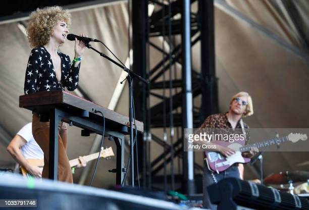 Tennis band members Alaina Moore left and her husband Patrick Riley perform at Grandoozy in Overland Park September 14 2018