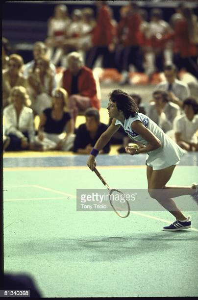 Tennis Battle of Sexes Billie Jean King in action vs Bobby Riggs during match at Astrodome Houston TX 9/20/1973