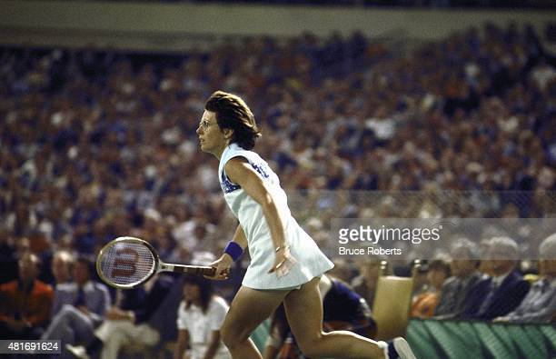 Battle of Sexes Billy Jean King in action during match vs Bobby Riggs at Astrodome Houston TX CREDIT Jerry Cooke