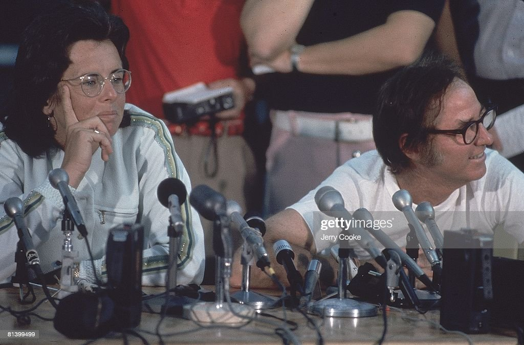 Battle of Sexes, Closeup of Billy Jean King (L) and Boby Riggs (R) with media at press conference at Astrodome, Houston, TX 9/20/1973