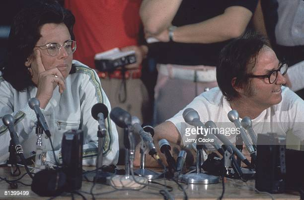 Tennis Battle of Sexes Closeup of Billy Jean King and Boby Riggs with media at press conference at Astrodome Houston TX 9/20/1973