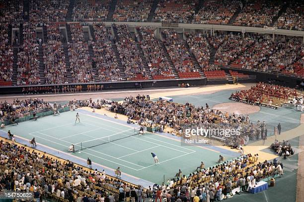 Battle of the Sexes Aerial scenic view of Billie Jean King in action vs Bobby Riggs during match at Astrodome Houston TX CREDIT Neil Leifer
