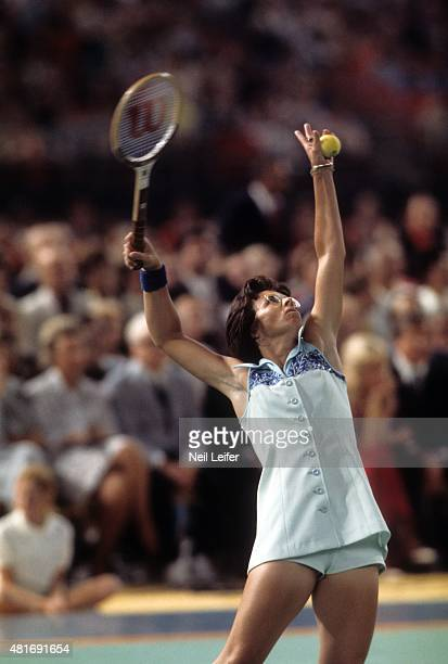 Battle of the Sexes Billie Jean King in action serve vs Bobby Riggs during match at Astrodome Houston TX CREDIT Neil Leifer