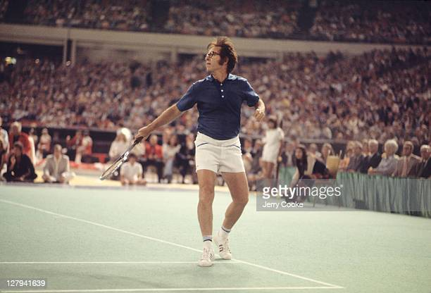 Battle of the Sexes Bobby Riggs in action during match vs Billie Jean King at the Astrodome Houston TX CREDIT Jerry Cooke