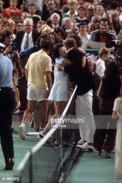 Battle of the Sexes II Billie Jean King hugs after winning match vs Bobby Riggs at the Astrodome Houston TX CREDIT Tony Triolo