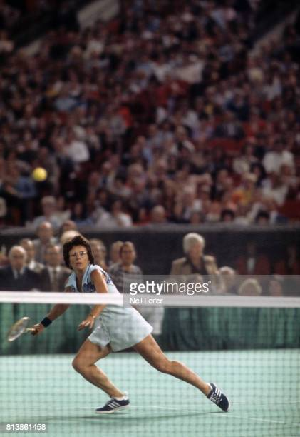 Battle of the Sexes II Billie Jean King in action vs Bobby Riggs during match at Astrodome Houston TX CREDIT Neil Leifer