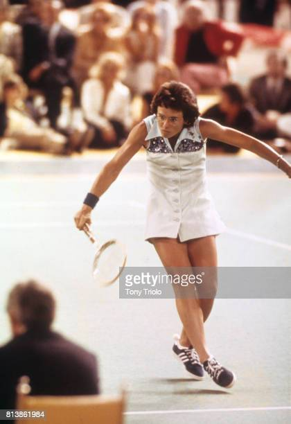 Battle of the Sexes II Billie Jean King in action vs Bobby Riggs during match at Astrodome Houston TX CREDIT Tony Triolo
