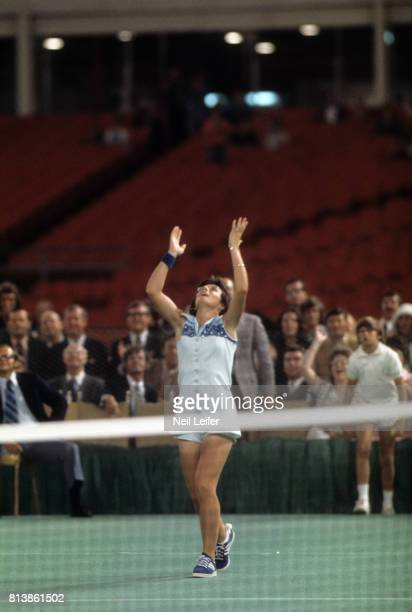 Battle of the Sexes II Billie Jean King victorious after winning match vs Bobby Riggs at the Astrodome Houston TX CREDIT Neil Leifer