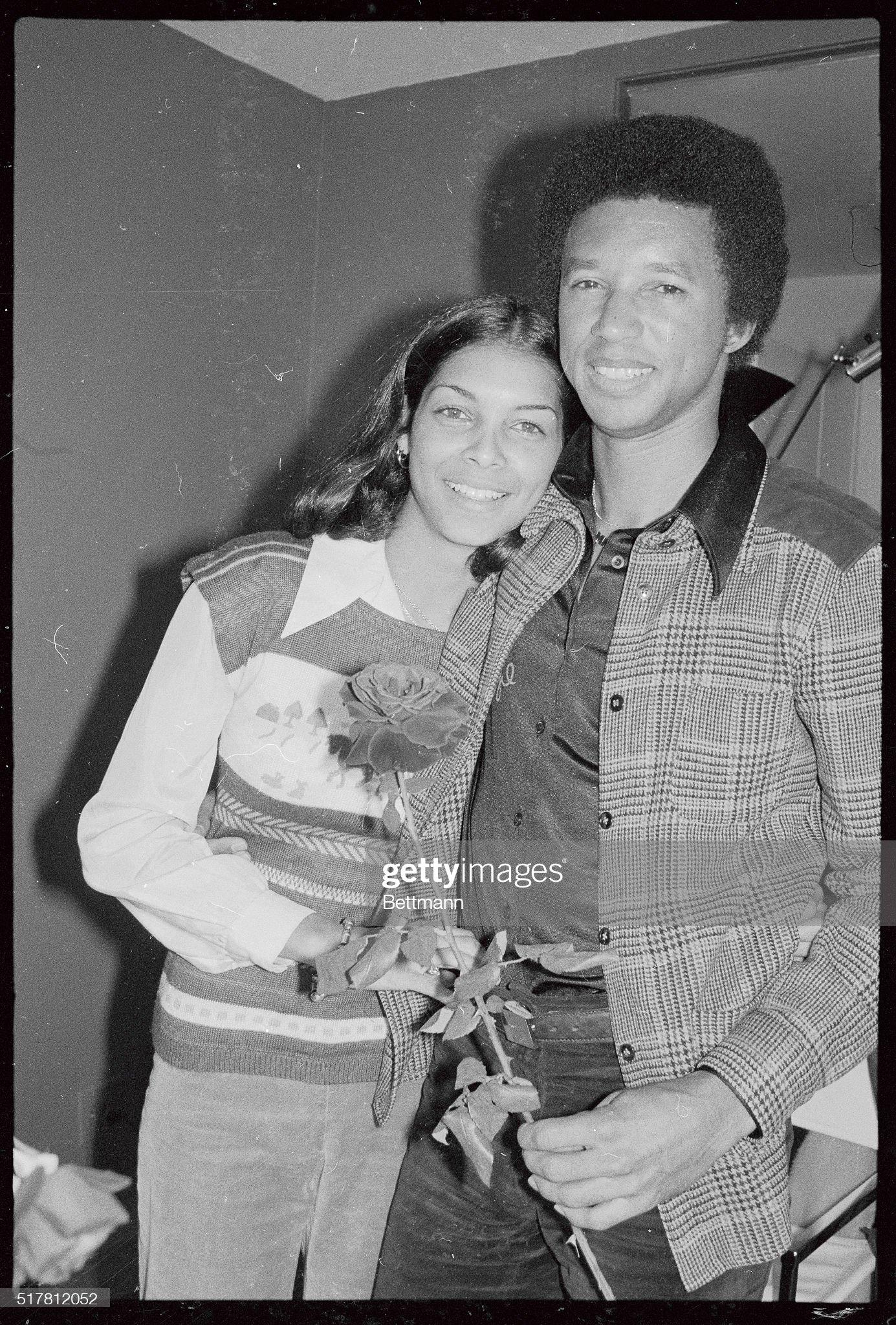 Arthur Ashe with Fiancee Jeanne Marie Moutoussamy : News Photo