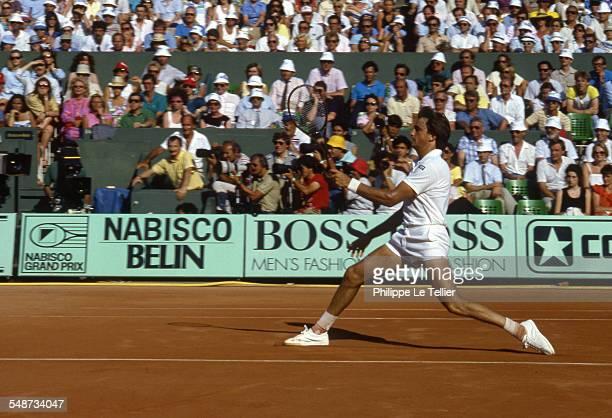 Tennis Champion Henri Leconte At Roland Garros Tournament Paris June 1985