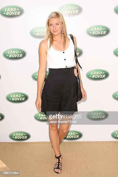 Tennis champion Maria Sharapova poses at the Land Rover 60th Anniversary in Agoura Hills California on July 11 2008