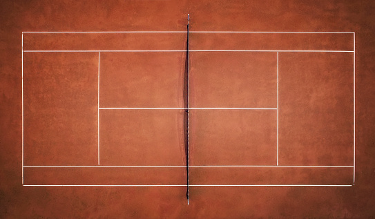 Tennis Clay Court. View from the bird's flight. Aerial photography 1126312927