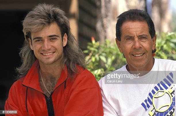 Tennis: Closeup portrait of Andre Agassi and Nick Bollettieri at Nick Bollettieri Tennis Academy, Bradenton, FL 1/1/1989--