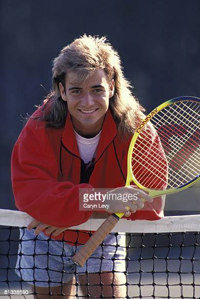 Tennis Closeup portrait of Andre Agassi at Nick Bollettieri Tennis Academy Bradenton FL 1/1/1989