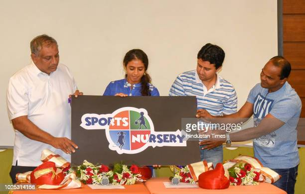 Tennis Coach Hemant Bendrey Tennis player Ankita Raina former Badminton player Nikhil Kanitkar former boxer Manoj Pigale inaugurate Sports Nursery at...